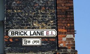 English: Street logo sign of Brick Lane in Eng...
