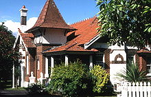 A Queen Anne Style house located on Appian Way in the Burwood suburb of Sydney.