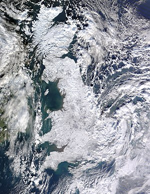 English: Satellite image of snow-covered Great...