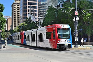 A Utah Transit Authority Trax light rail vehic...