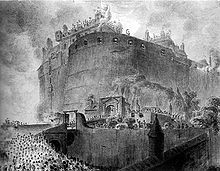 Drawing of the castle surrounded by crowds