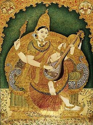 English: 19th Century Mysore Painting of Godde...