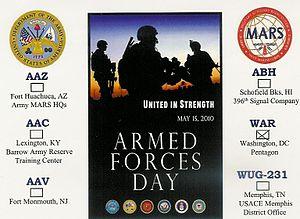 QSL card send by Army MARS station WAR (Europe...