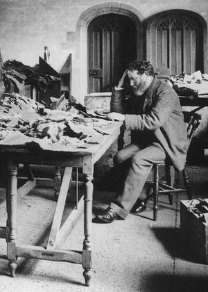 Solomon Schechter studying documents from the ...