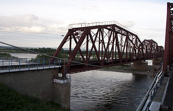 The Transsiberian railway crossing Chuna River...