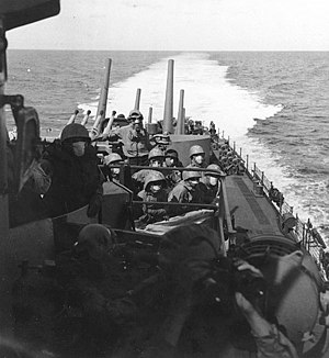 USS San Juan (CL-54): Crewmen at general quart...