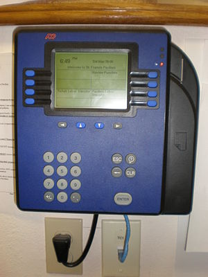 An ADP Model 4500 timecard reader