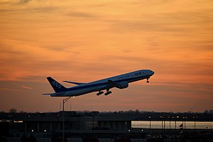 Airplane   WikiVisually An All Nippon Airways Boeing 777 300 taking off from New York JFK Airport