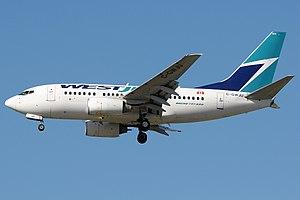 English: WestJet 737-600 landing in Vancouver ...