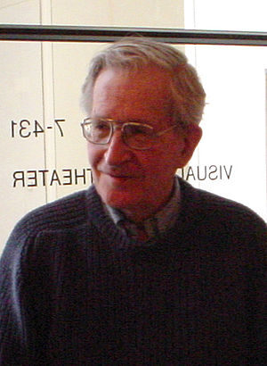 Noam Chomsky. The photo is taken in April 2002...