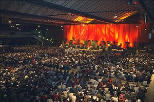 Prayer on the one of the Taizé European meetings.