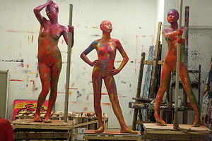 Sculptures of nude pole dancing. Works by Dutc...