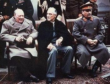 English: Yalta summit in 1945 with Winston Chu...
