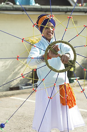 A young boy practising, Gatka, SIkh martial art.