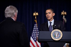 President Barack Obama talks with Democratic H...