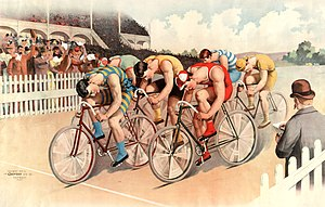 Bicycle race scene. A peloton of six cyclists ...