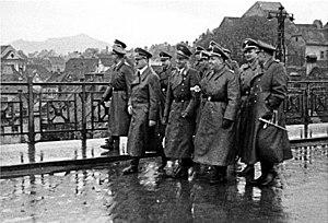 Adolf Hitler and Martin Bormann visiting occup...