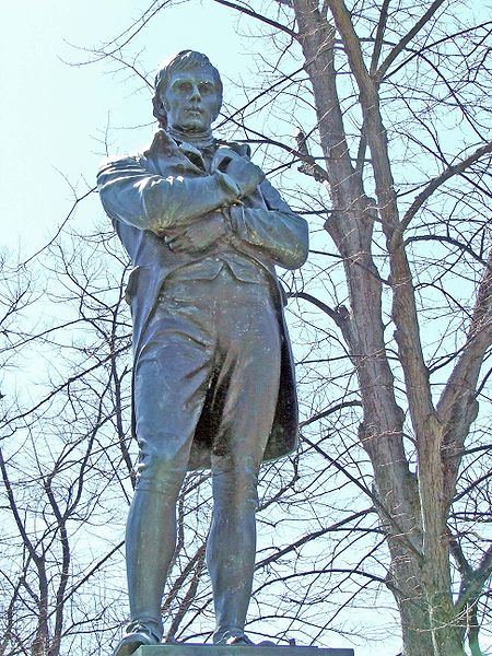 Robbie Burns statue, Victoria Park in downtown Halifax, Nova Scotia. The statue was erected by the North British Society of Halifax in 1919. Sculpture by G.A. Lawson.