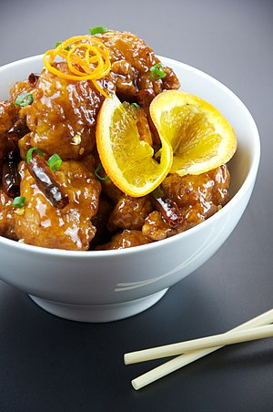 English: Orange chicken. Photographed in Oakla...