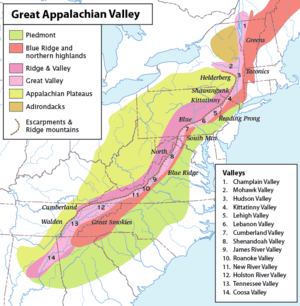 Map of the Appalachian Mountain physiographic ...