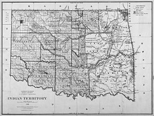 Map of Indian territory in Oklahoma in 1885.