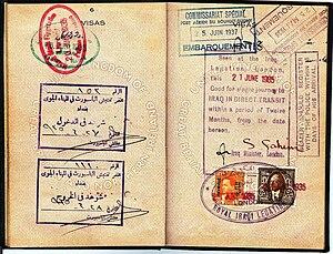 Visas of Yugoslavia & Iran in a British passpo...