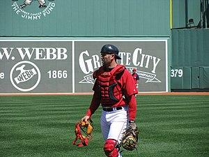 English: Photo of Jason Varitek in catcher's g...