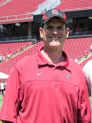 Head coach Jim Harbaugh at the 2010 Stanford f...