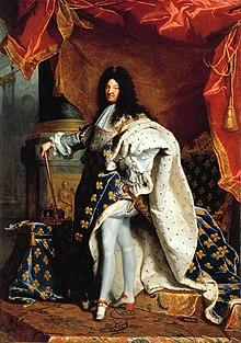 Portrait de Louis XIV en costume de sacre par Hyacinthe Rigaud en 1701.