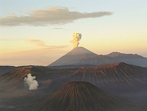 The Mount Bromo volcano on the island Java of ...