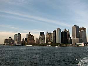 English: New York City skyline with Battery Pa...