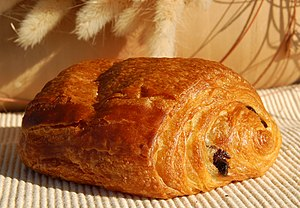 English: A Pain au chocolat from a Belgian Bak...