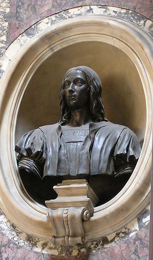 Bronze bust of Raphael on top of the artist's ...