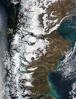 Imagen satelital tomada por la NASA en invierno