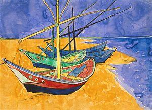 Vincent van Gogh - Boats at Saintes-Marie wate...