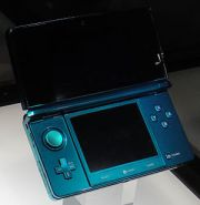 Blue Nintendo 3DS on display in Nintendo booth...