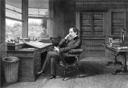 Engraving of Dickens at Gad's Hill, Samuel Hollyer