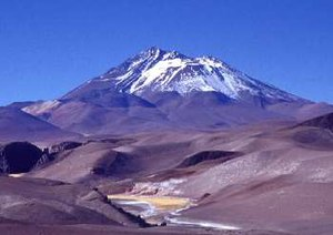 Llullaillaco volcano, north Chile, natural are...