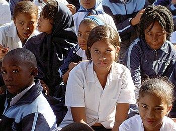School children at Mitchells Plain school. The...