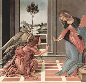 Annunciation by Botticelli, 1490, one of the m...