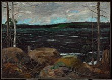 After this painting was bought by the Government of Ontario in 1913 for $250, Thomson was encouraged to pursue a career in art and accepted James MacCallum's offer to cover his expenses for a year.