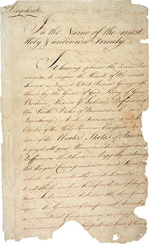 The first page of the 1783 Treaty of Paris.