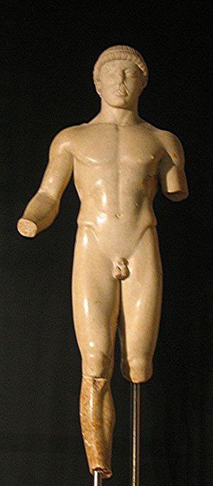 Ephebe, 5th century B.C., museum of Agrigento,...