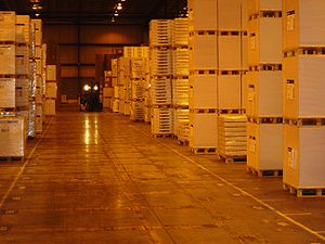 A logistics provider's warehouse of goods bein...