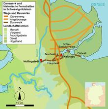 Karte des Ochsenwegs und des Danewerks