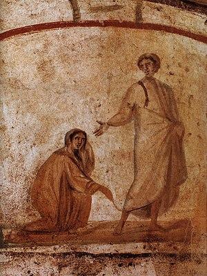 English: The Heeling of a bleeding women, Rom,...