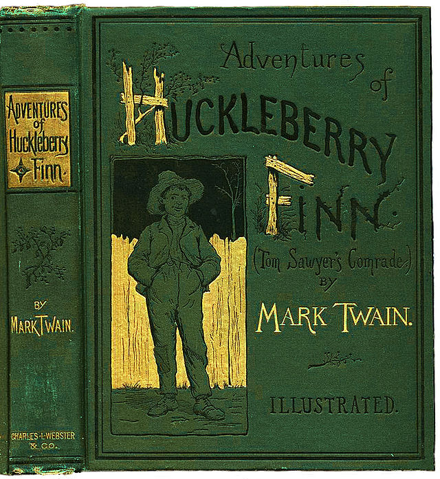 Cover and binding of the first edition of Mark Twain's The Adventures of Huckleberry Finn. Wikipedia image
