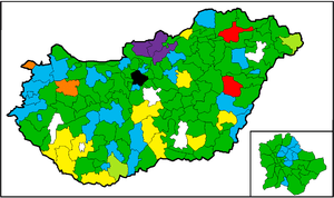 Results the elections in Hungary, 1990