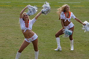 Two cheerleaders for the Miami Dolphins footba...