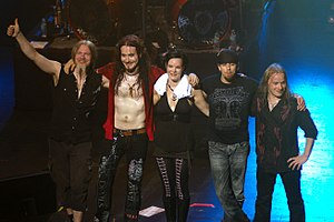 English: Nightwish take a bow at the end of a ...